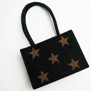Vintage Beaded Stars Black Gold Handbag Purse